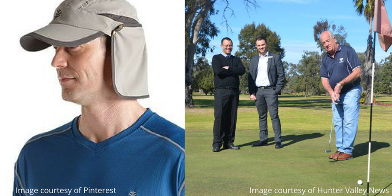 Flap hat and golfer in jeans