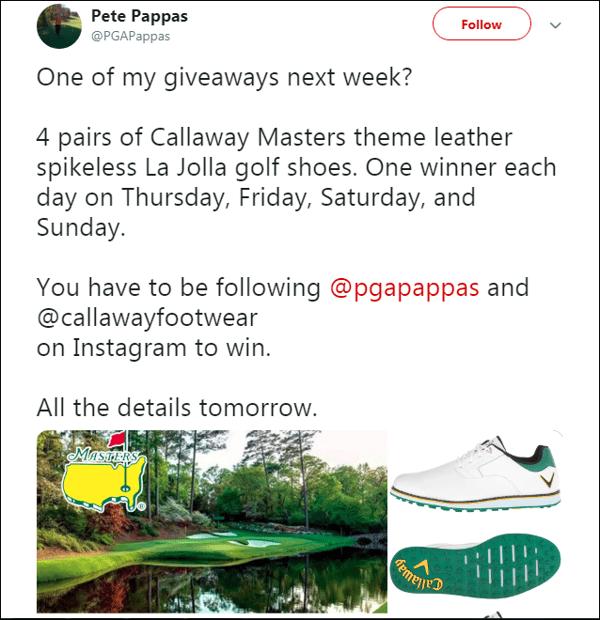 PGA Pappas masters giveaway