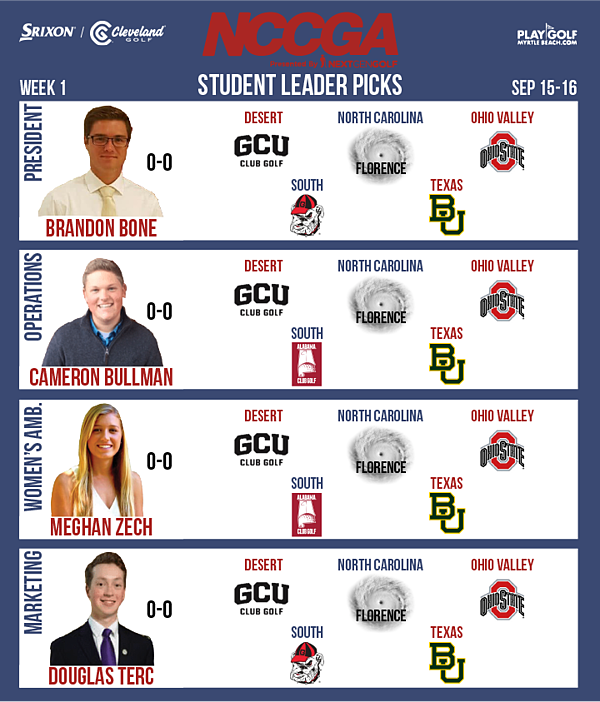 Student leader picks Fall 2018 week 1